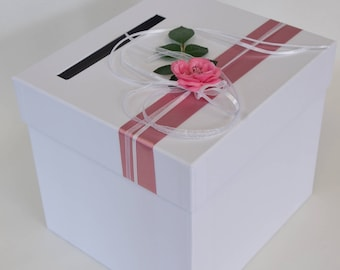 Urn square money box white and dusty pink