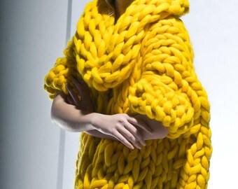 Chunky knitting. Chunky knit. Knit cardigan. Giant knitting yellow coat. Her big yarn sweater. Woolen oversized cardigan. Original knitwear.