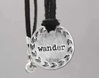 Chevron Necklace, Wander Necklace, Boho Necklace, Hand Stamped Jewelry, Inspiration Jewelry, Pewter Jewelry, Pewter Necklace, Wander Jewelry