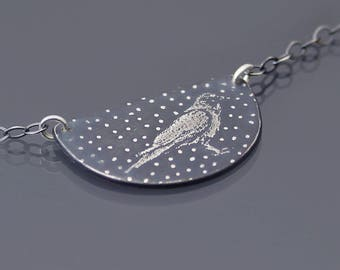 Sterling Silver Crow Necklace, corvid, celestial crow necklace