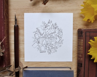 Books and Leaves - Pen & Ink Drawing