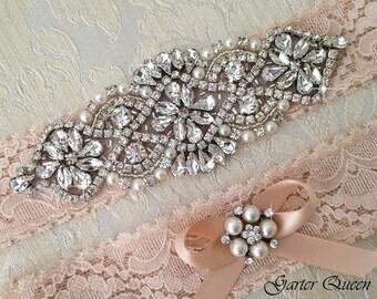 Blush Wedding Garter, Blush Lace Garter Set, Lace Wedding Garter Set, Bridal garter Set, Rhinestone Garter, Blush Garter