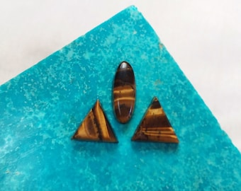 Bronze Tigers Eye Cabochon Set/ oval/ triangle/