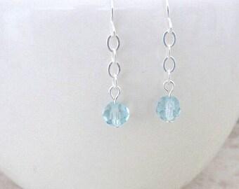 Minimalist Blue Earrings, Delicate Blue Earrings, Chic Aqua Earrings, Delicate Blue Topaz Earrings, Gift for Minimalist Friend