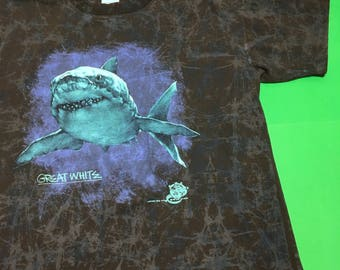 Vintage Shark Shirt 80s Shark Tshirt - 80s Shark Shirt - 90s Shark Shirt - Great White Shark Tshirt - Great White Shark Shirt - 90s Tie Dye