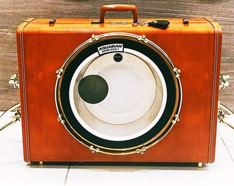 "Casebass© suitcase bassdrum by RBT Custom Drums - large vintage leather ""thumper"" model"