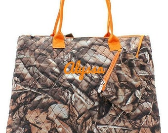 Monogrammed Camo Quilted Bag Monogrammed Camo Tote Bag Personalized Camo Quilted Bag Natural Camo Orange Bag