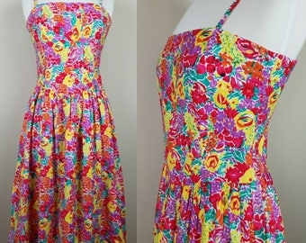 1980s vintage floral dress | pink, yellow, green, purple flowers - floral day dress - 1980s sun dress
