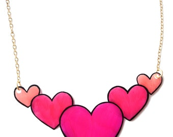 Heart Necklace - Valentine's - Five Pink Hearts - Baby Pink, Bright Pink, Hot Pink - Love - Large Statement Jewellery