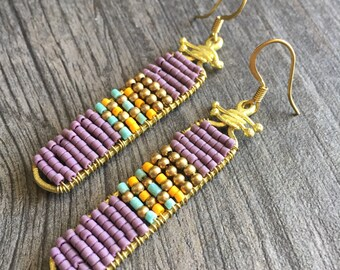 Brass beaded purple earrings,handmade beaded earrings, short dangle earrings