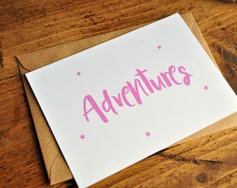 Adventures Typography Postcard Print | Inspirational Print A6 A5 A4 | Typography Card | Pink Star Print | Positive Adventure Wall Print