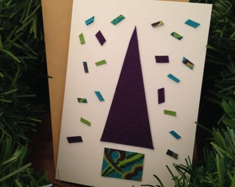 Ecochic Upcycled Giftbags Holiday Card Set with Purple Tree and Teal, Purple, Green, Gold Paper Snow - Set of 12