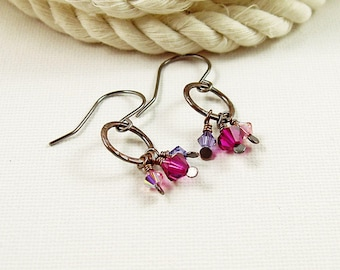 Copper Circle Earrings with Purple Crystal Dangles and Sterling Silver Hooks