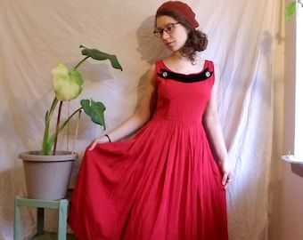 Red Vintage Dress | long, pleated, party dress, 1950's