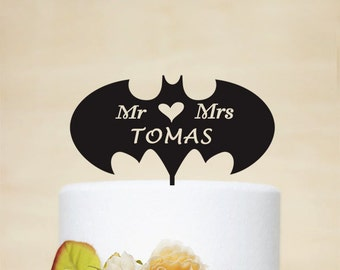 Batman Cake Topper-Mr and Mrs Cake Topper With Surname - Wedding Topper - Wedding Cake Topper - Batman Silhouette - Wedding Decoration 054