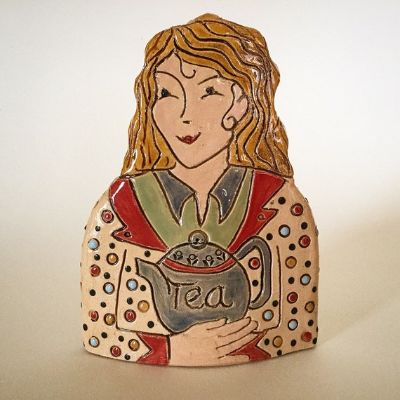 Lady with Teapot. Handmade ceramic bust, mini-bust, Colourful People, collectible, one of a kind
