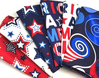Fat Quarter Bundle - Red, White & Starry Blue Fabric Collection by Ginger Oliphant from Studio E Fabrics - 6 Fat Quarters