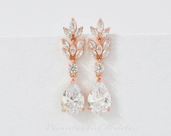 Rose Gold CZ earrings, Cubic ziconia earrings, wedding earrings, bridal earrings, tear drop earrings, bridesmaid jewelry, Bridal Jewelry