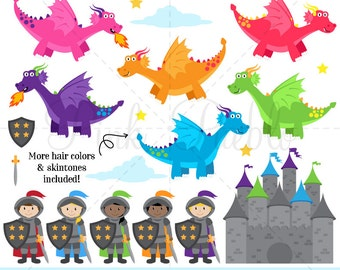Knights and Dragons Clipart, Knight Clipart, Dragon Clipart, Fairytale Clipart - Commercial and Personal Use