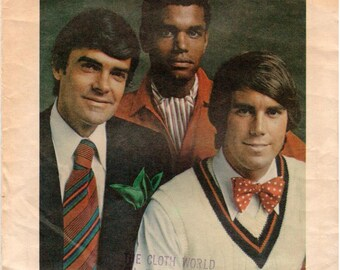 Vintage 1970's Butterick Pattern 3417 - Men's Tie, Bow Tie, Ascot and Pocket Handkerchief - Men's Accessories