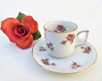Vintage Tea Cup and Saucer | Bavaria Germany Cup Saucer Set | Pink Roses Teacup | Bavaria Teacup Saucer