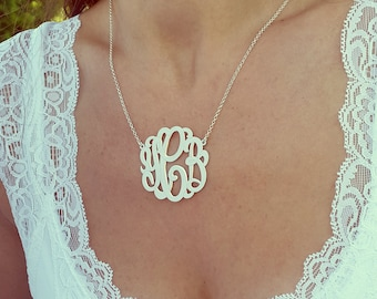 """Custom made Silver Monogram Necklace, 1.5"""" , Personalized gift, Christmas Gift, silver monogram"""