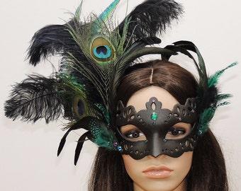 Venetian mask Peacock mask feather headdress mask ball Gothic