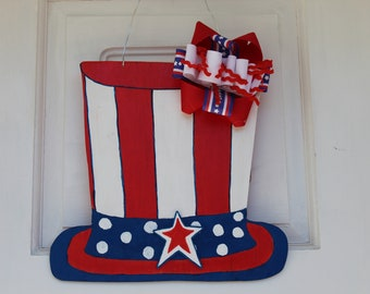 4th of July/ Independence Day Top Hat Wooden Door Hanger