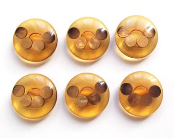 6 large vintage amber and Golden mother of Pearl buttons 26 mm