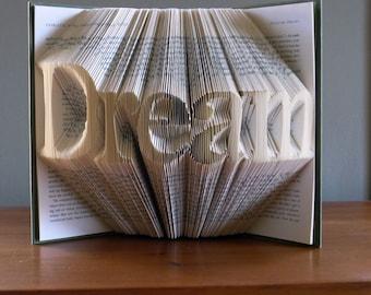 Sueño - doblado de inspiración Art - decoración para el hogar - libro arte - libro escultura - regalo único - alterado - artes decorativas - libro plegable de arte