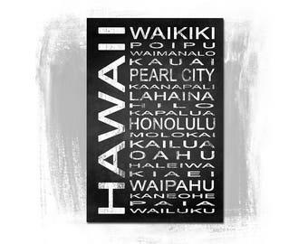 Hawaii State 1 Subway Sign Fine Art Print | Modern Chalkboard Typography