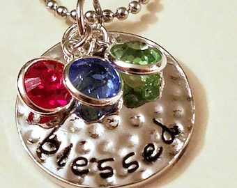 Mother's Birthstone Necklace: Blessed Mother's Day Jewelry