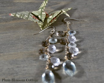 Gemstone Cascade Earrings, Green Amethyst, Rose Quartz, Smoky Quartz, Gemstone Cluster Earrings, Briolettes, Sterling Silver, OOAK