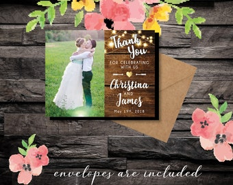 Thank you for Celebrating with Us ~ Save the Date, faux wood, photo magnets, gold wedding, rustic wedding, wedding thank you + Envelopes