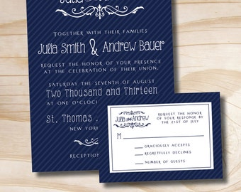 MODERN NAMES Wedding Invitation and Response Card Invitation Suite