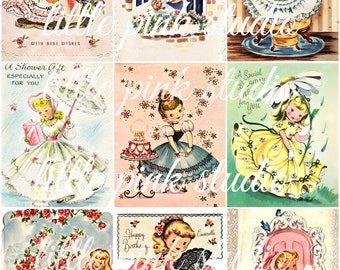 Darling Vintage Greetings,  Printable Collage Sheet (digital download, printable)