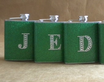 Personalized Graduation Day Gifts Kelly Green or ANY Color 3 Sparkly 6 oz Flasks with ANY Rhinestone Initial KR2D 5790