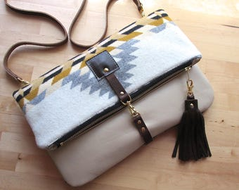 Southwestern Wool and leather bag, Large Leather foldover clutch, leather bag, wool fabric and leather clutch, leather tassel, boho