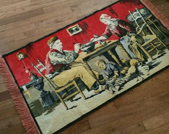 """Tapestry Wall Hanging, Farmhouse Kitchen Scene, Fringed Tapestry/Floor Covering, 43"""" Long X 25 1/2"""" Wide Wall Hanging"""