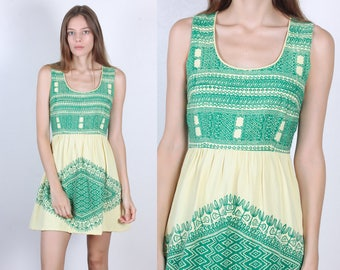 70s Boho Mini Dress // Vintage Mexican 1970s Hippie Minidress - Small