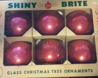 Box of Red Christmas Ornaments - set of 6