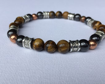 Tiger's Eye Gentleman's healing bracelet with magnetic and copper beads