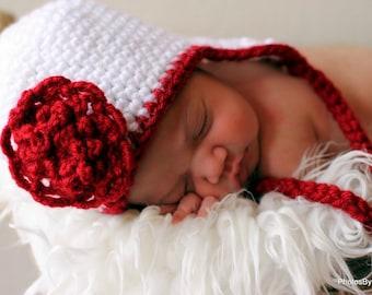 Baby Earflap Hat Easy CROCHET PATTERN 5 SIZES 0-10 years with Pretty Flower
