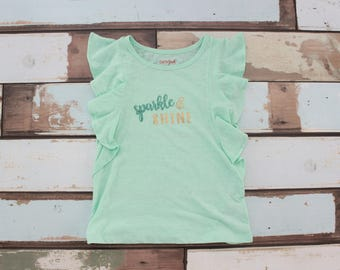 Girls Ruffle T-Shirt: Aqua and Gold Sparkle & Shine