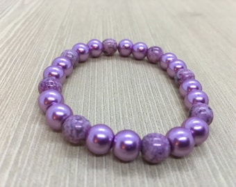Purple Glass Beaded Bracelet