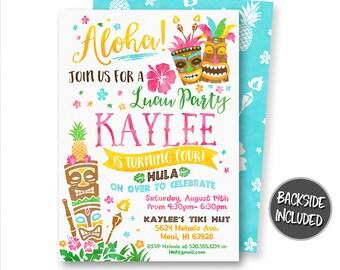 Hawaiian Invitation, Tiki Party Invitation, Luau Invitation, Aloha Invitation, Luau Party, Tiki Party, Printables, Digital, Personalized