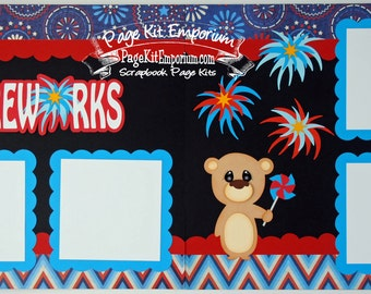 Scrapbook Page Kit July 4th Fireworks Summer Holiday 2 page Scrapbook Layout 82