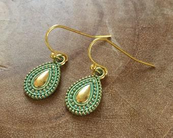 Boho Drop - goldtone dangling earrings with goldtone metal teardrop charm with bohemian feel. Teal, gold, turquoise, boho, summer