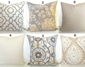 GRAY PILLOWS GREY Throw Pillow Covers Tan Pillows Grey Decorative Throw Pillow Covers Tan & Grey Pillows 16 18x18 20 .All Sizes. Home Decor