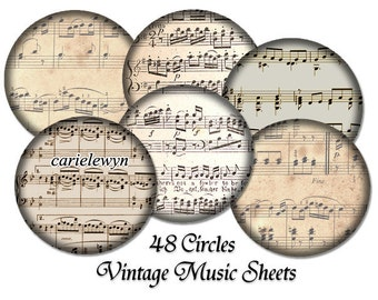 48 Music Note Bottlecap Images / 1-inch Circles / Vintage Classical Sheet Music Notes V1 / Printable Digital Collage / Instant Download
